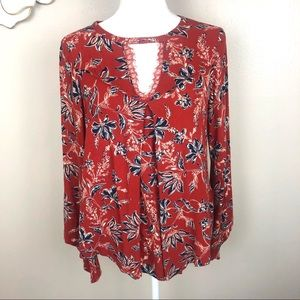 Democracy red and blue floral boho blouse
